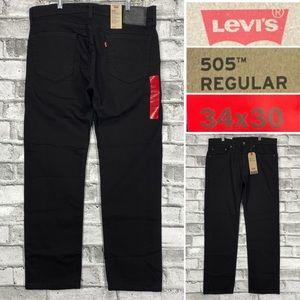 NWT LEVIS 505 Regular Stretch Men's Sz 34 x 30 Straight Leg Black Jeans